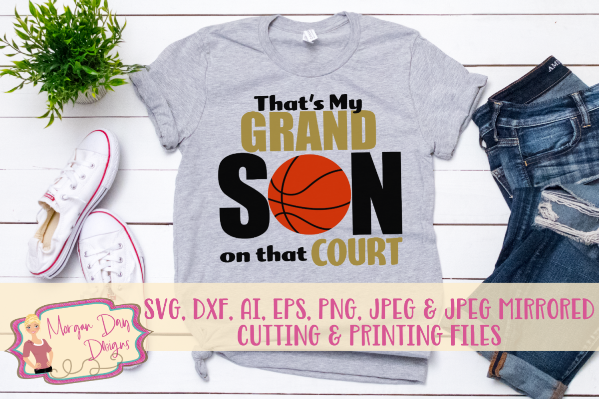 That's My Grandson On The Court SVG, DXF, AI, EPS, PNG, JPEG example image 1