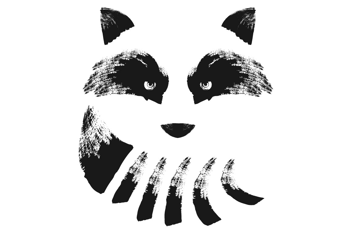 Raccoon face illustration. Hand drawn vector illustration. example image 1