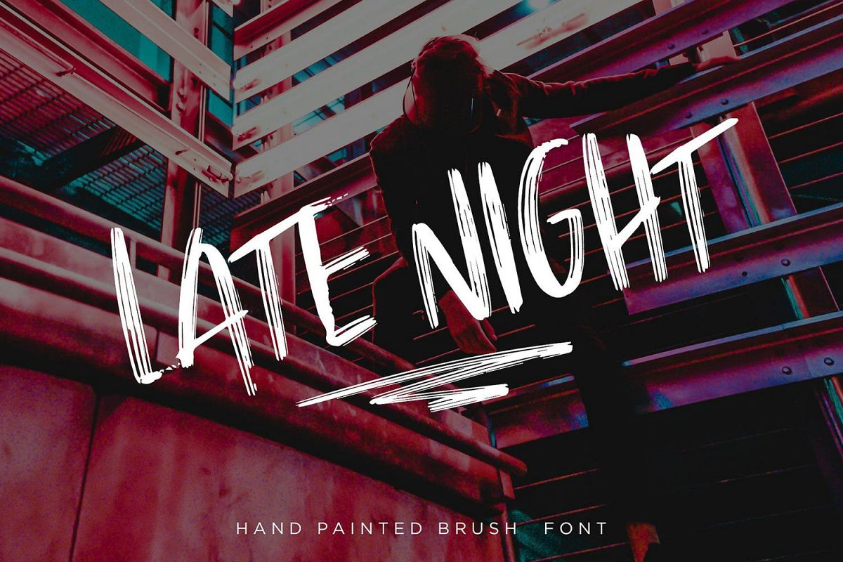 Late Night   Vibrant Brush Font example image 1