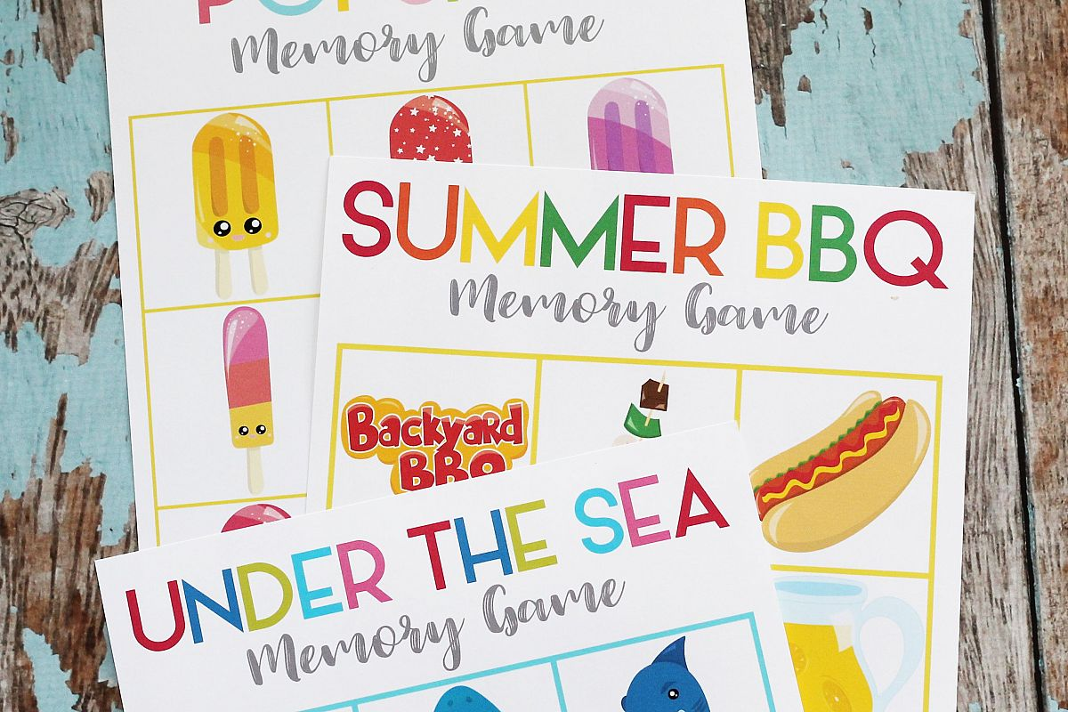 image relating to Printable Memory Games for Adults named Printable Summer months Memory Matching Video game - 3 Video games - 1 Down load