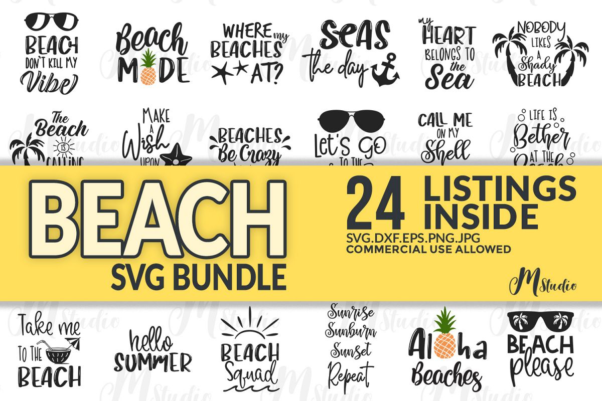 Beach SVG Bundle, 24 Listings Inside. example image 1