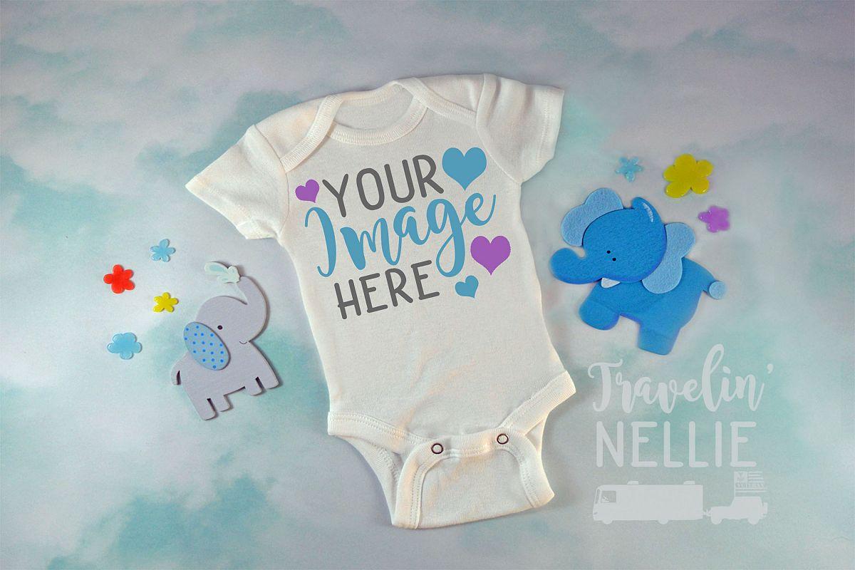 Baby Boy Elephant White Blank Bodysuit Mockup Flat Lay Photo example image 1