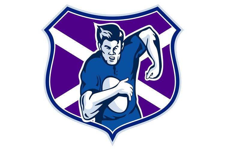 rugby player flag and shield of scotland example image 1