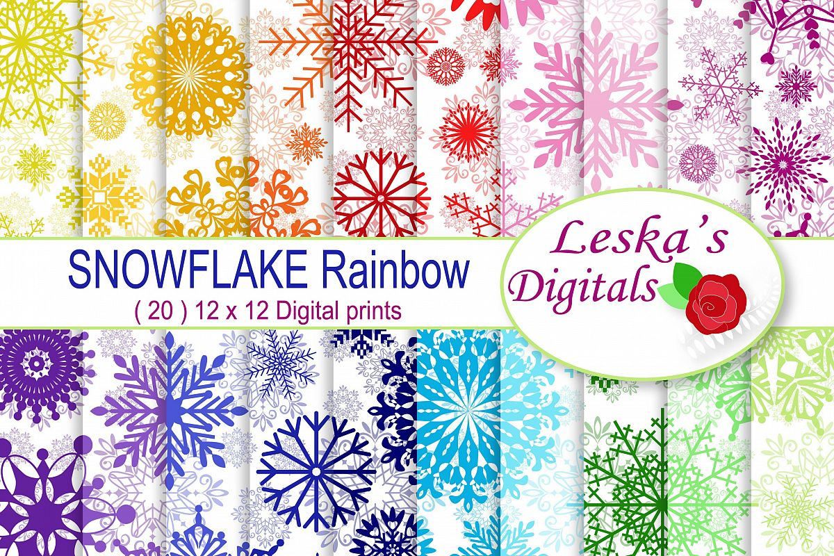 Winter Digital Paper Pack - Snowflake Patterns example image 1