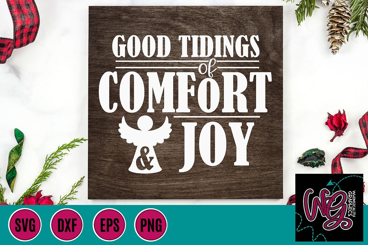 Good Tidings of Comfort and Joy Christmas SVG, DXF, PNG, EPS example image 1