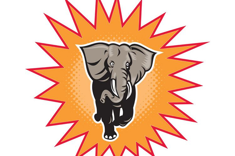 african elephant charging halftone dots example image 1