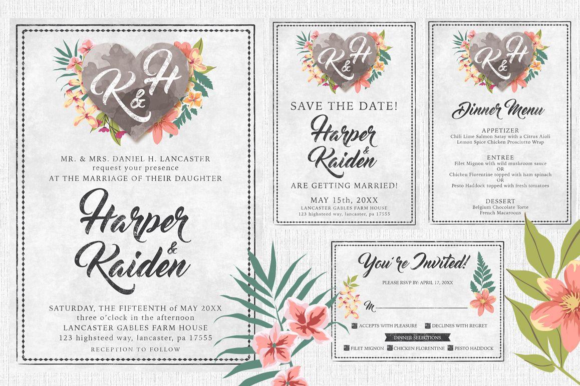 Chalk Floral Wedding Invite Bundle example image 1