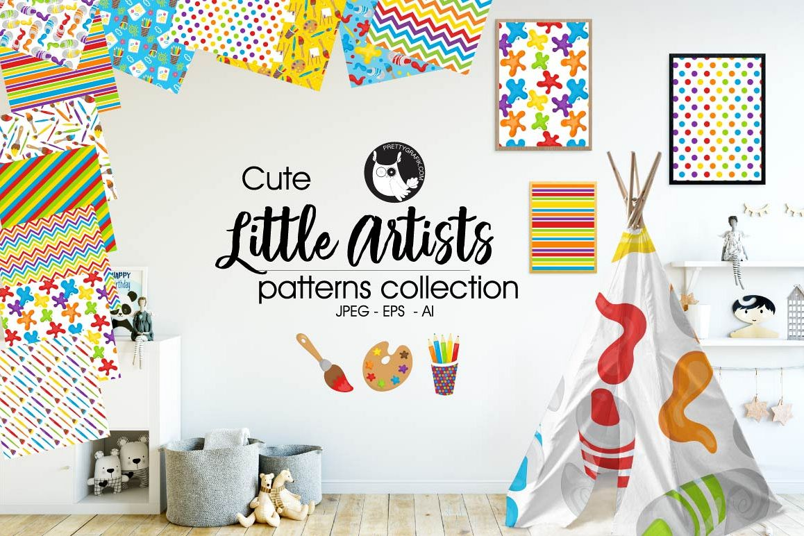 Little Artists, digital papers example image 1