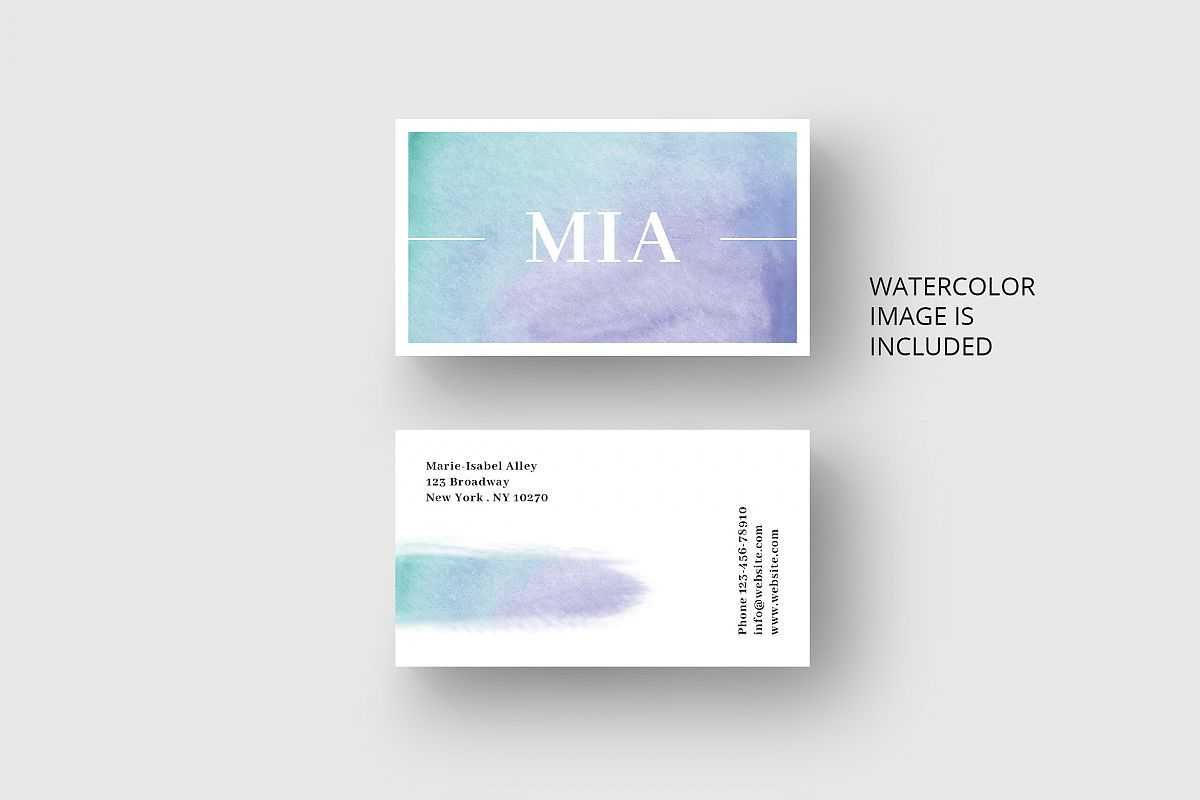 Business Card Template With Watercolor Background