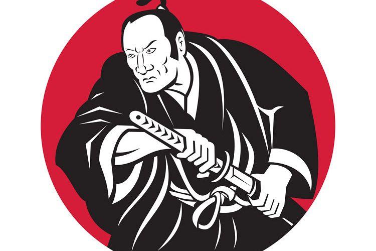 Japanese Samurai warrior drawing sword example image 1