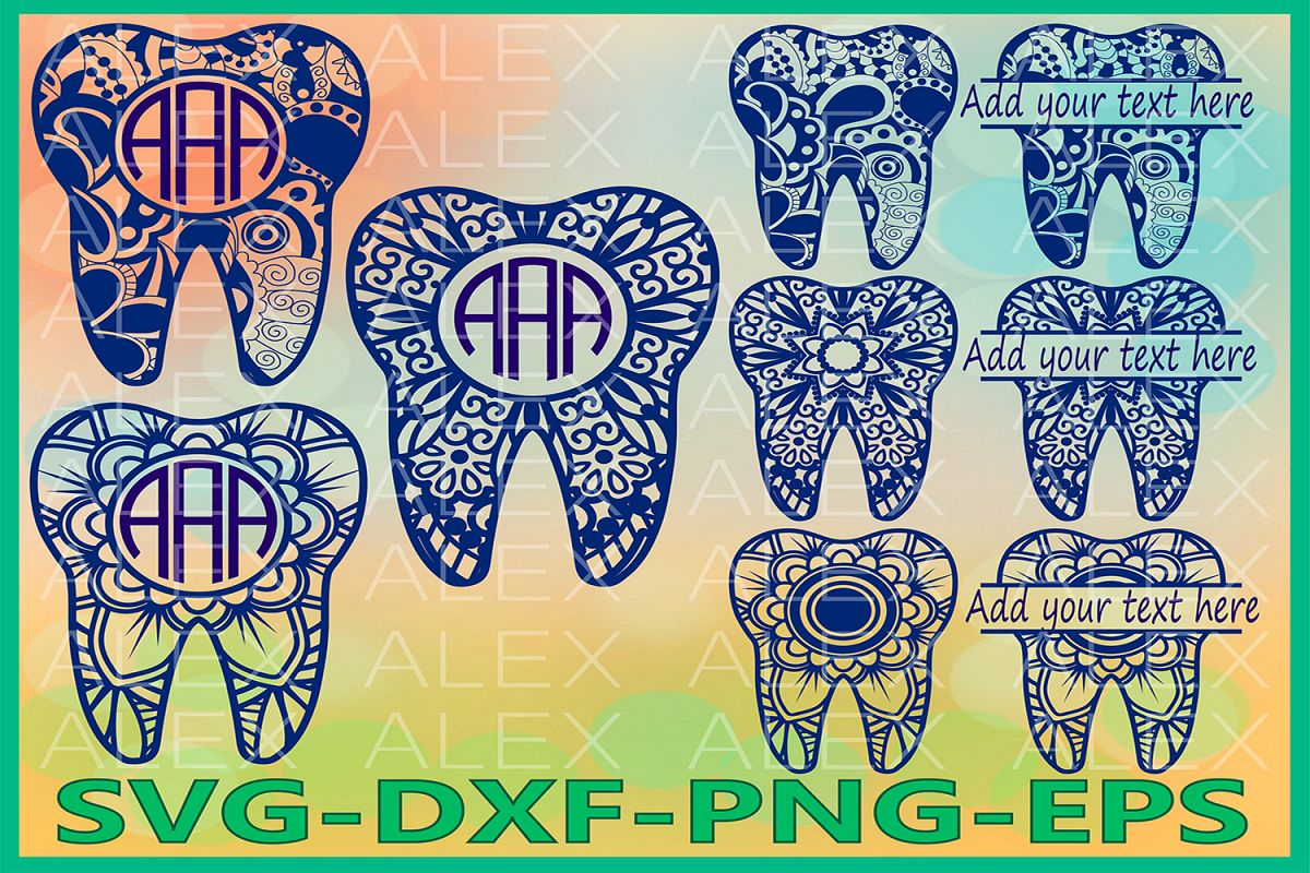 Tooth Svg, Tooth Monogram Svg, Mandala SVG, Zentangle svg example image 1