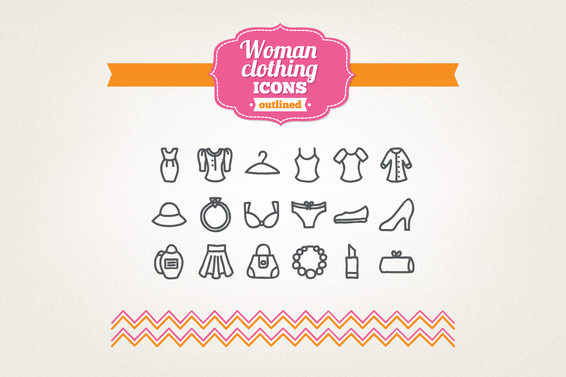Hand Drawn Woman Clothing Icons example image 1