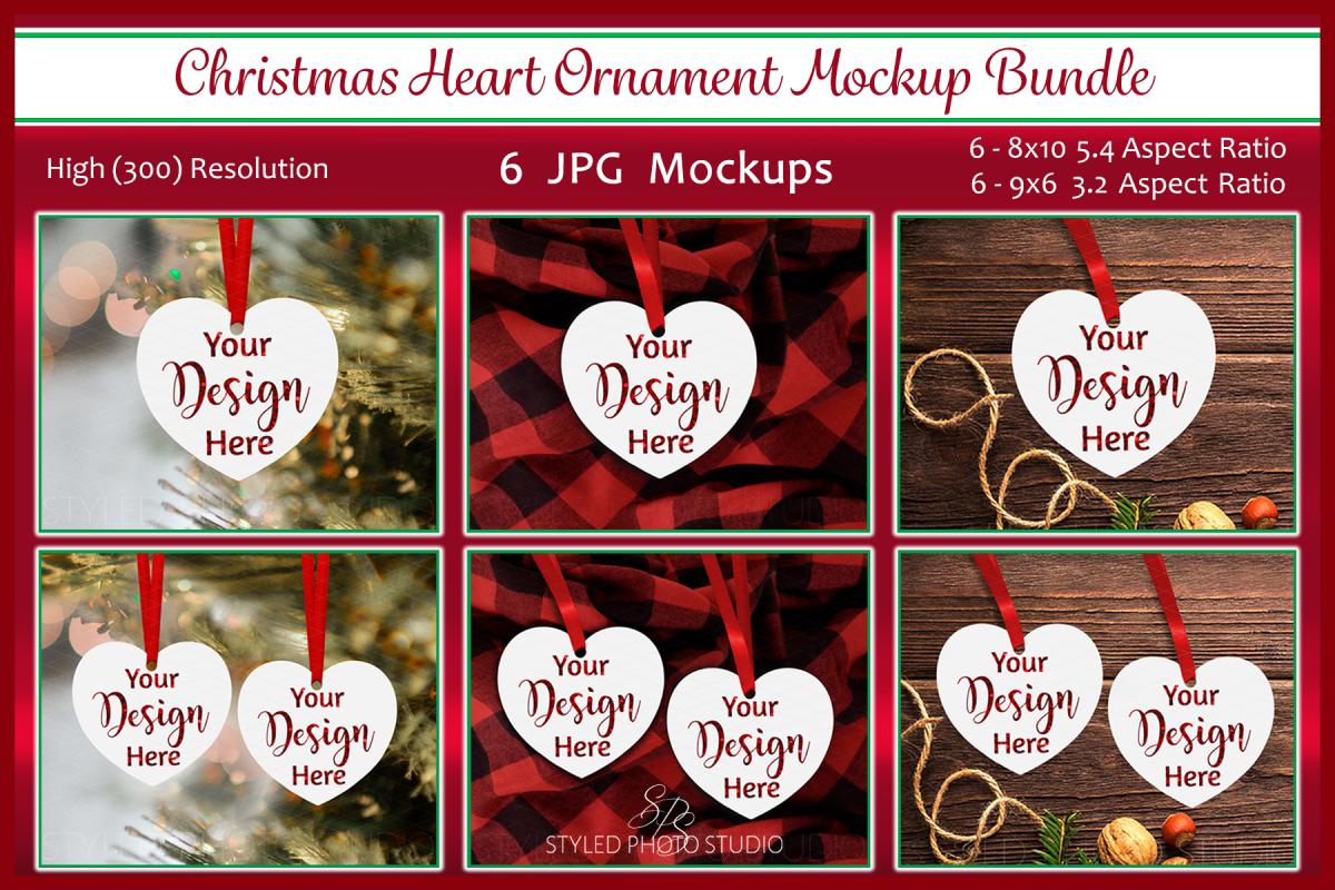Christmas Heart Ornament Mockup Bundle, Bauble Mock Up, JPG example image 1