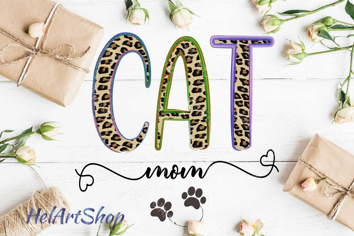 Cat Mom png, Leopard Print Sublimation png example image 1