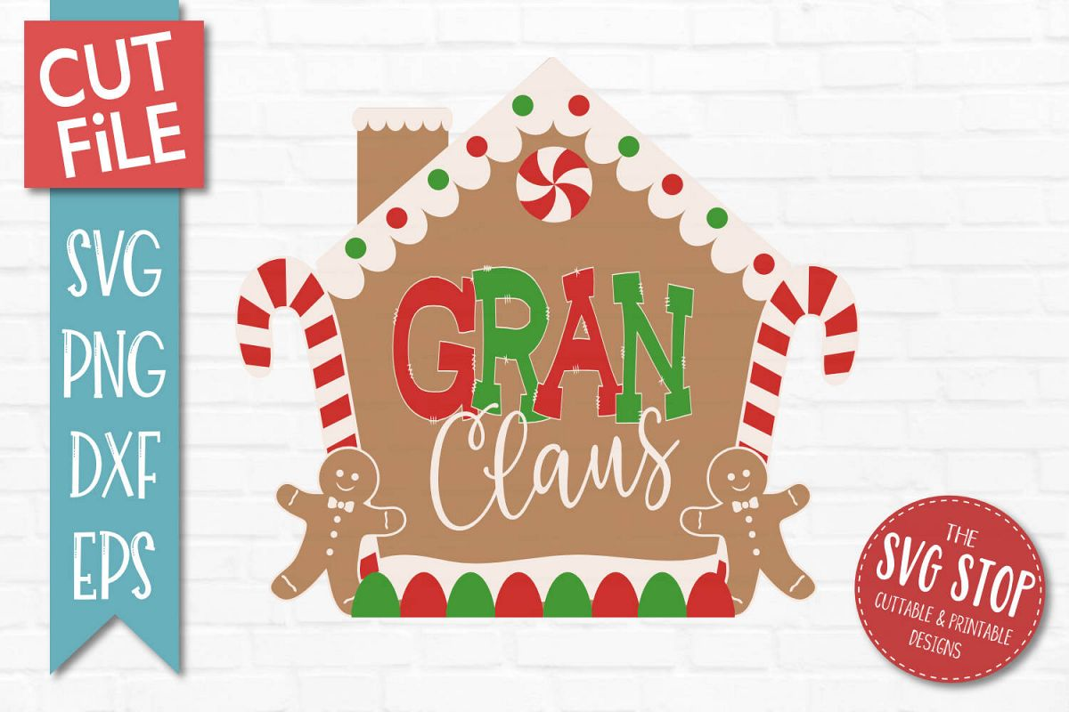 Gran Claus Gingerbread Christmas SVG, PNG, DXF, EPS example image 1