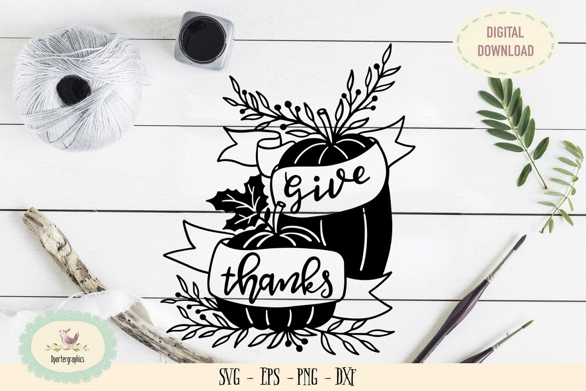 Give thanks paper cut SVG PNG pumpkin thanksgiving example image 1