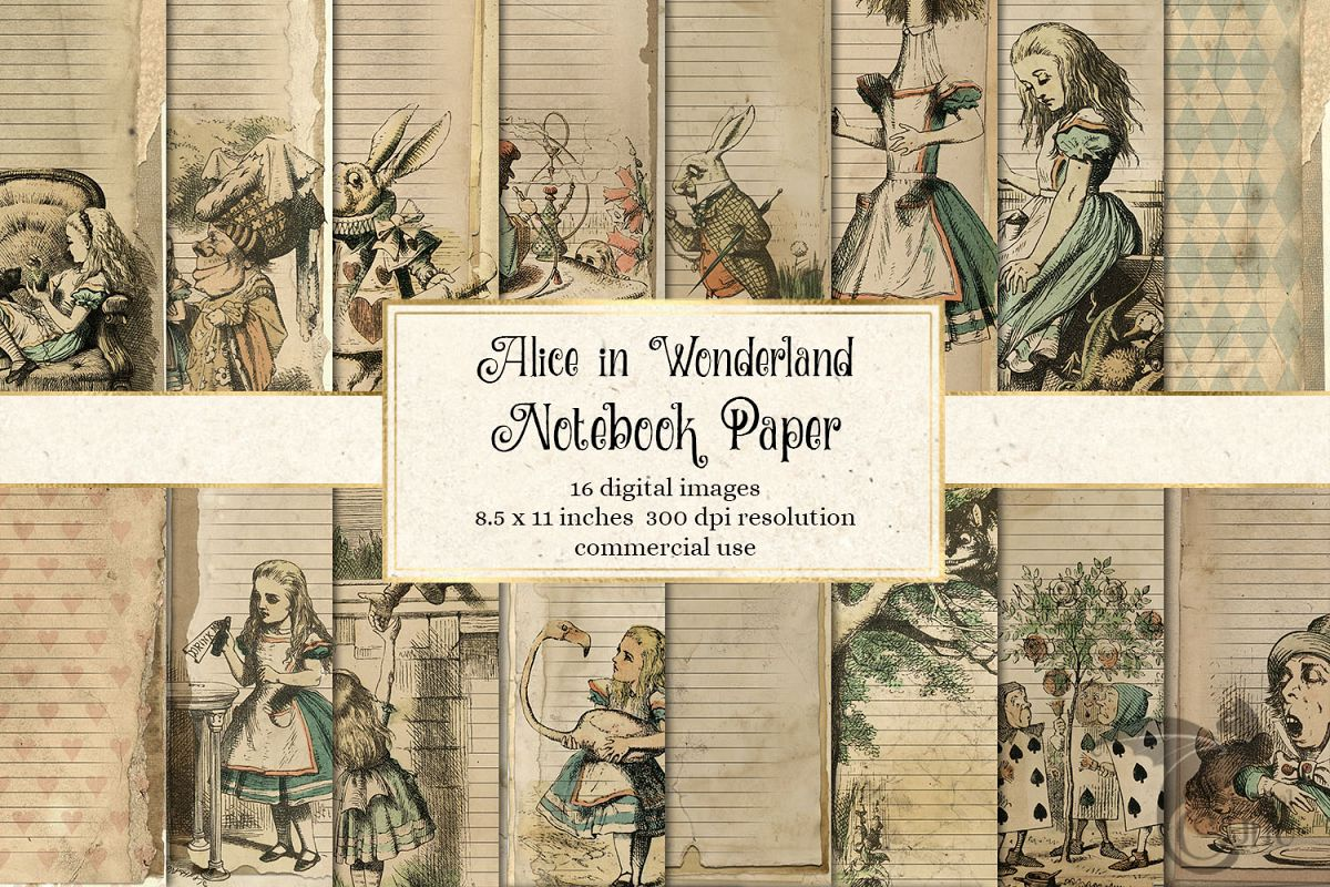Alice in Wonderland Notebook Paper example image 1