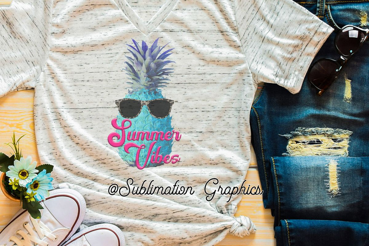 Summer Vibes Pineapple Sublimation PNG example image 1