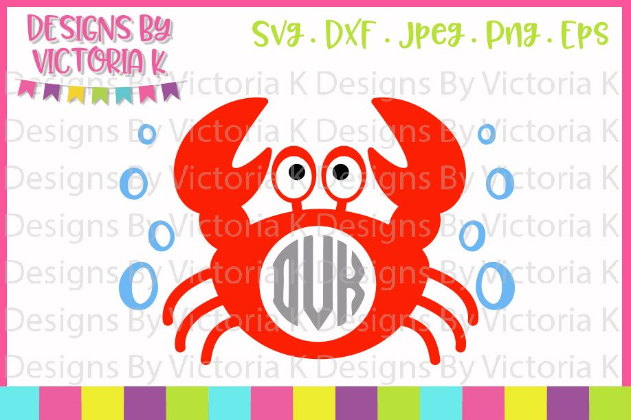 Crab Monogram, Crab, Beach svg, SVG, DXF, PNG example image 1