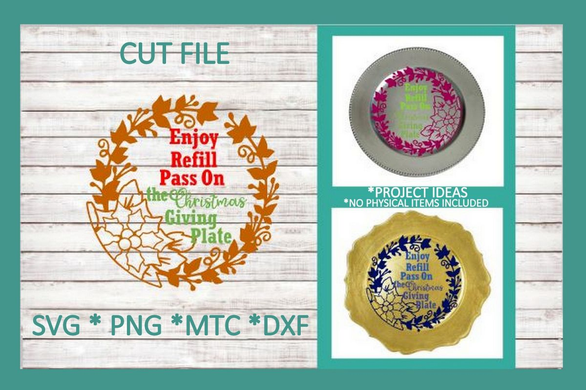 SVG Cut File Christmas Giving Plate Design #02 example image 1