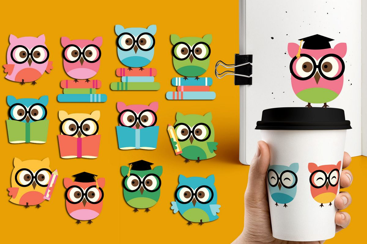 smart owls clipart / back to school / owl glasses books