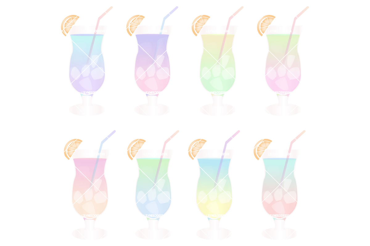 Tropical Cocktail Illustration Clipart example image 1