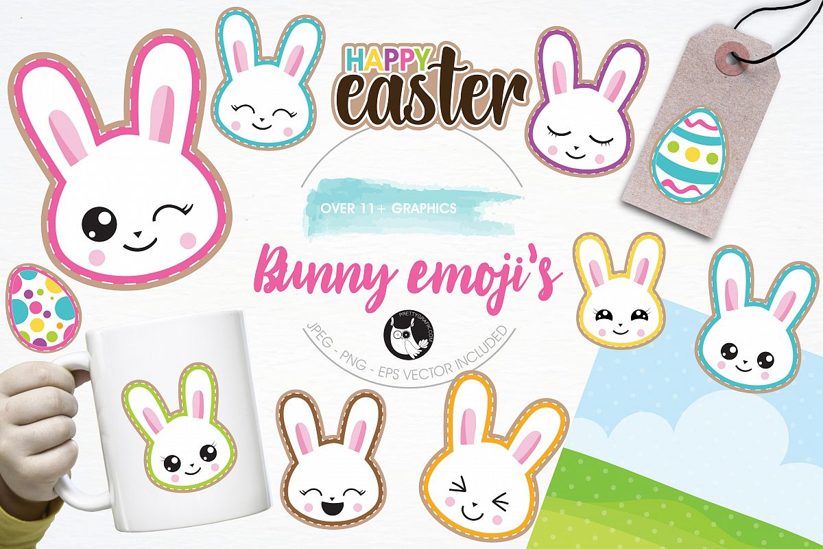 Easter bunny emoji graphics and illustrations example image 1