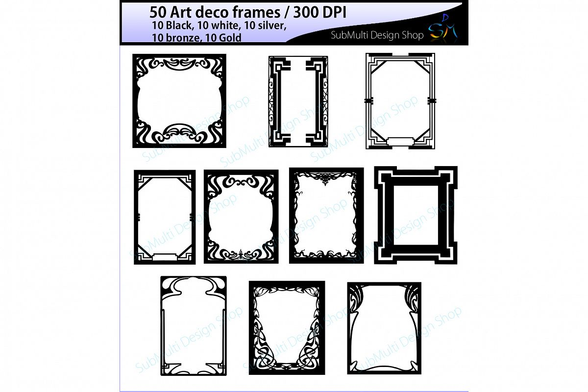 art deco frames / art deco frames clipart / art deco frames silhouette / art deco gold frames / art deco silver frame / High Quality example image 1