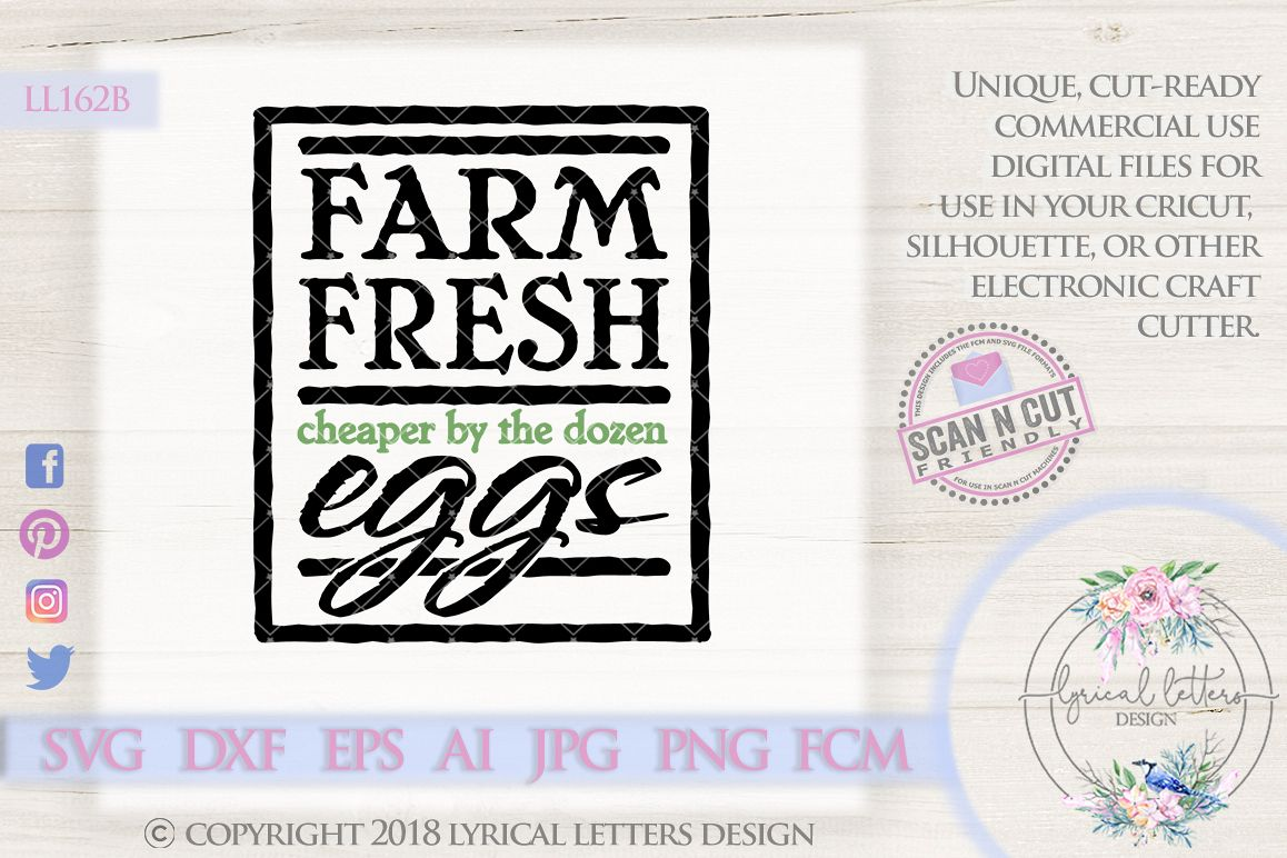 Farm Fresh Eggs By the Dozen Farmhouse SVG Cut File LL162B example image 1