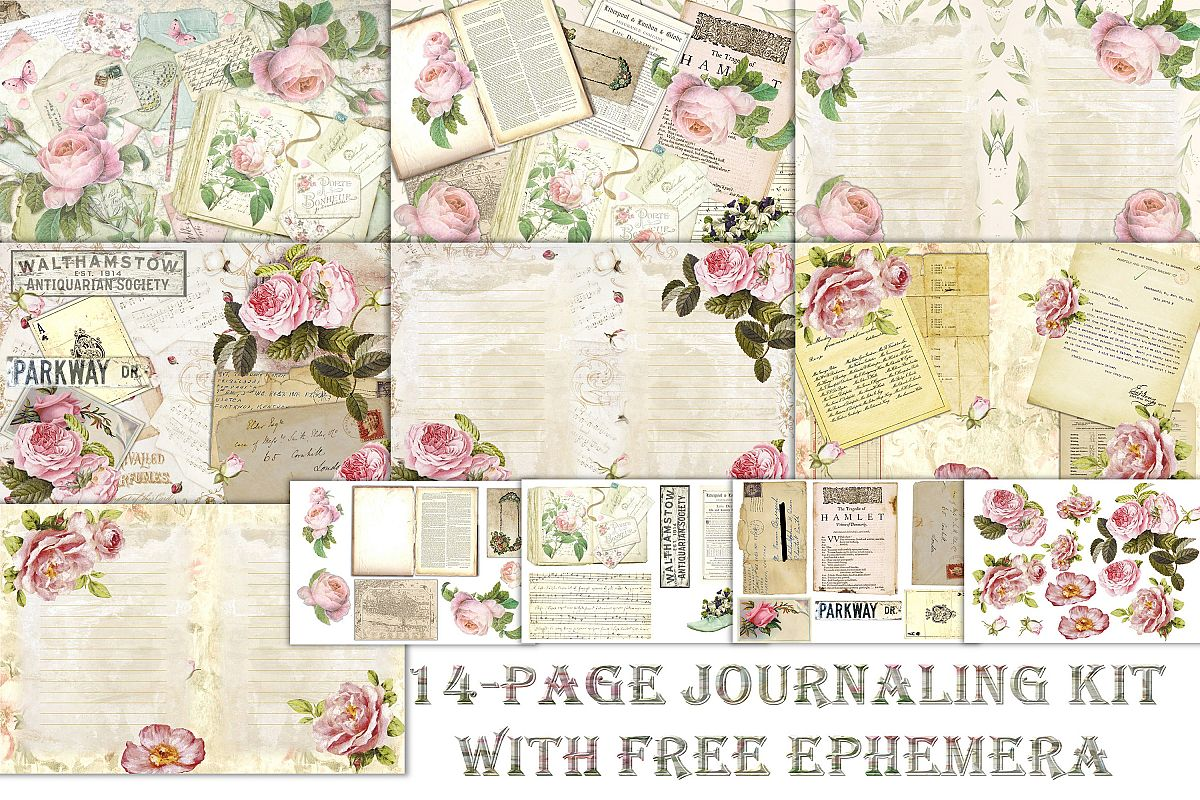 Journaling backgrounds with FREE ephemera PNG and JPEG CU example image 1