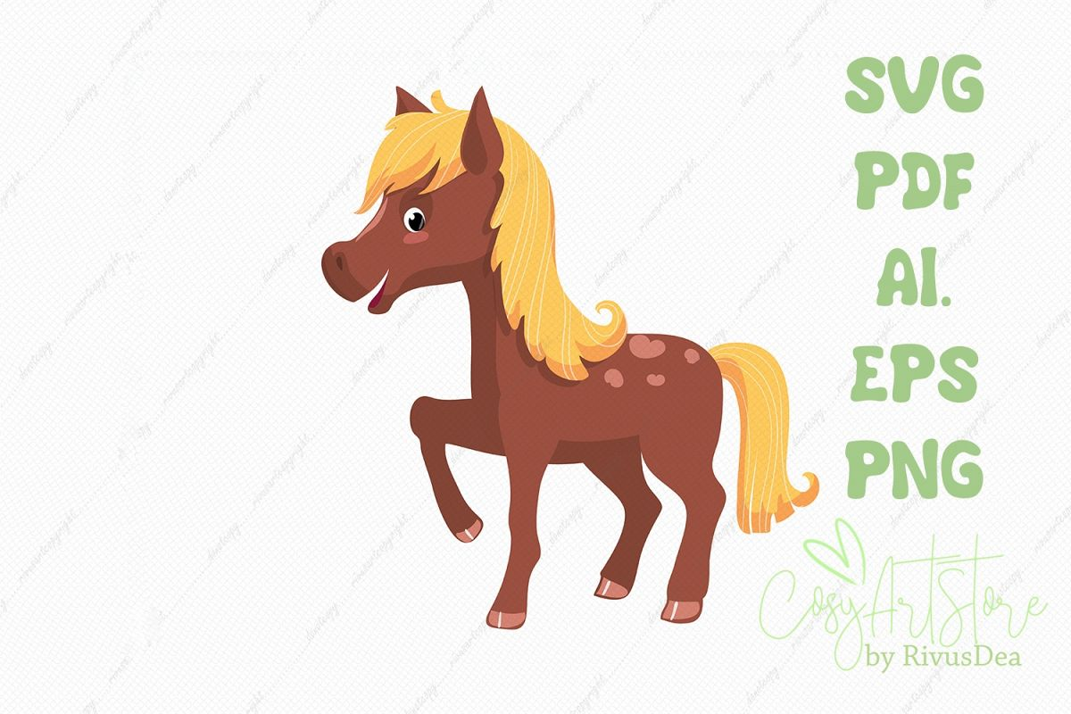 Horse SVG download, baby horse PNG illustration example image 1