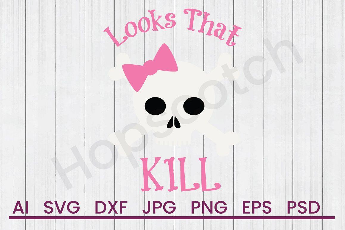 Girl Skull SVG, Killer Looks SVG, DXF File, Cuttatable File example image 1