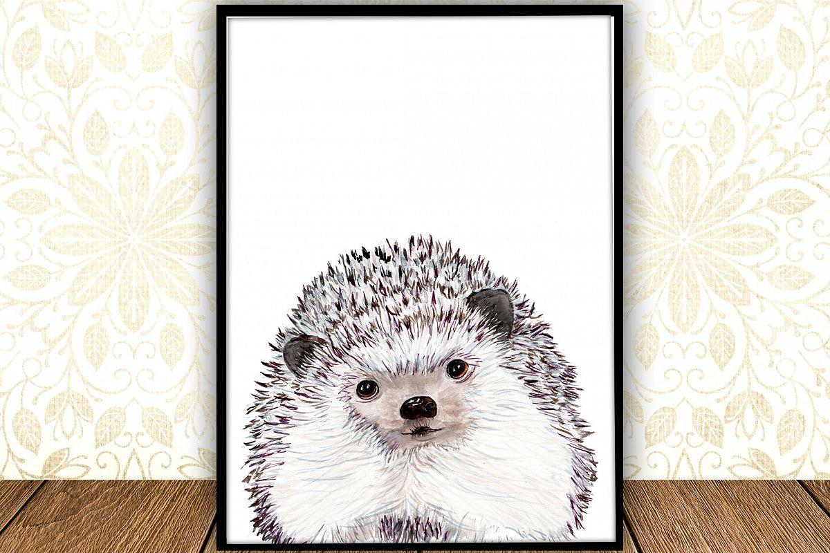 Watercolor Hedgehog digital print Woodland Nursery Art example image 1