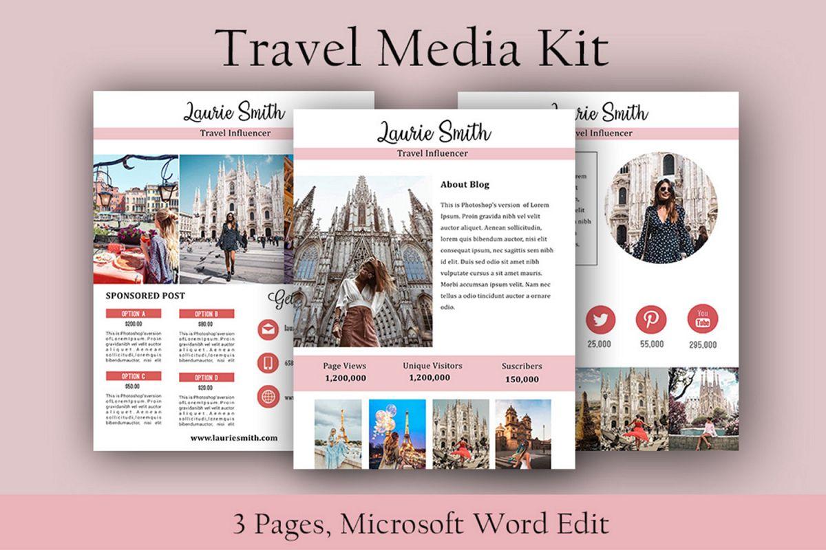 Influencer Media Kit, Travel Media Kit, Microsoft Word Edit example image 1