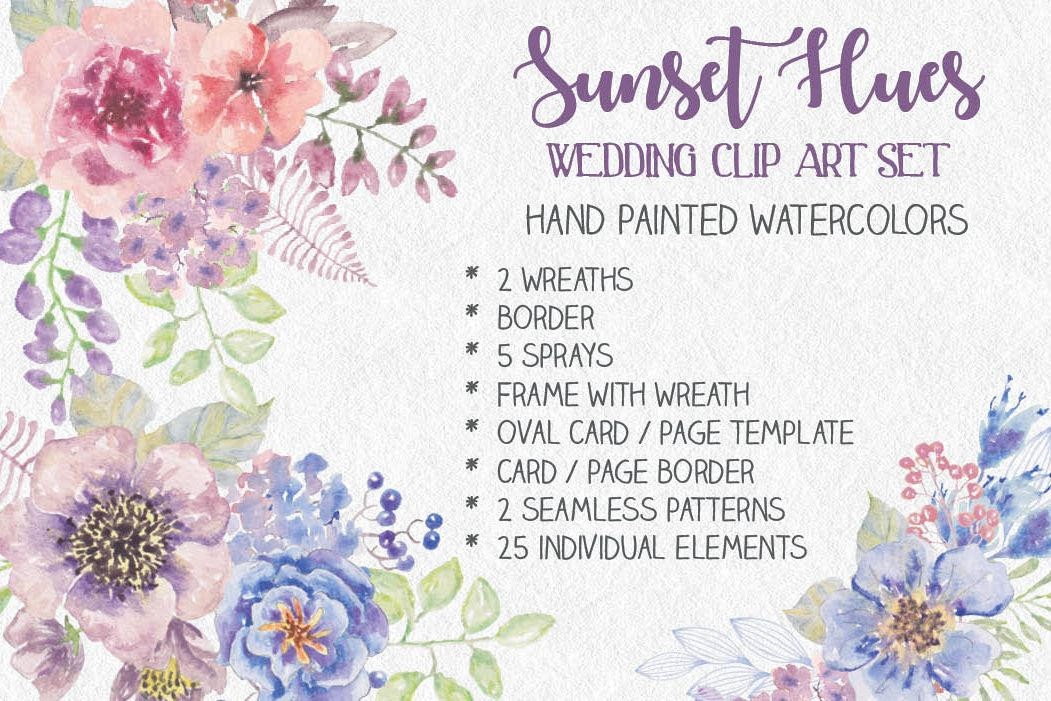 Wedding clip art set: Sunset Hues example image 1