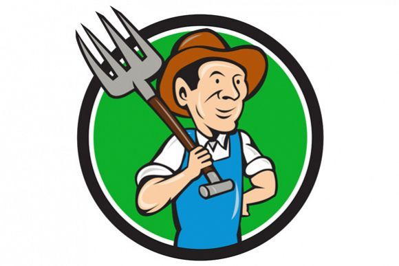 Farmer Pitchfork On Shoulder Circle Cartoon example image 1