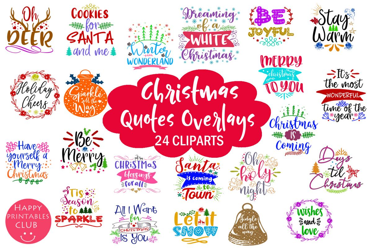 Christmas Quotes Overlays- Text Overlays-Holiday Clipart example image 1