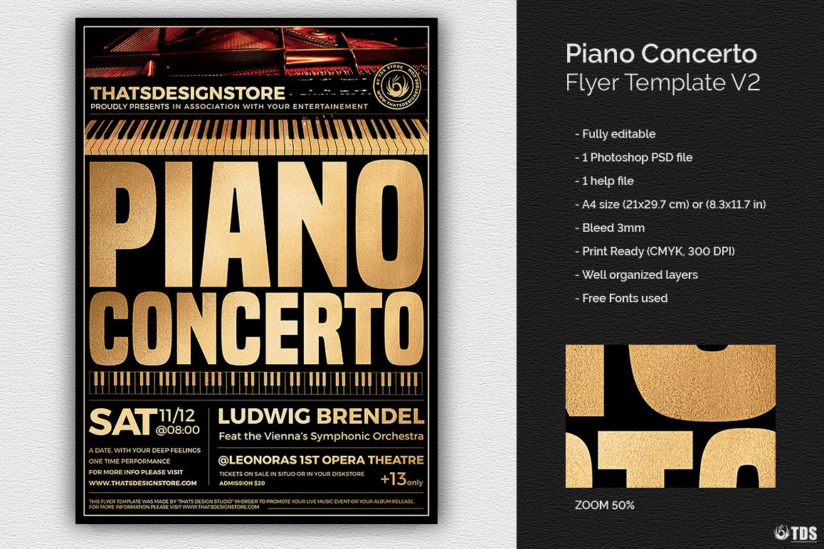 Piano Concerto Flyer Template V2 Example Image 1