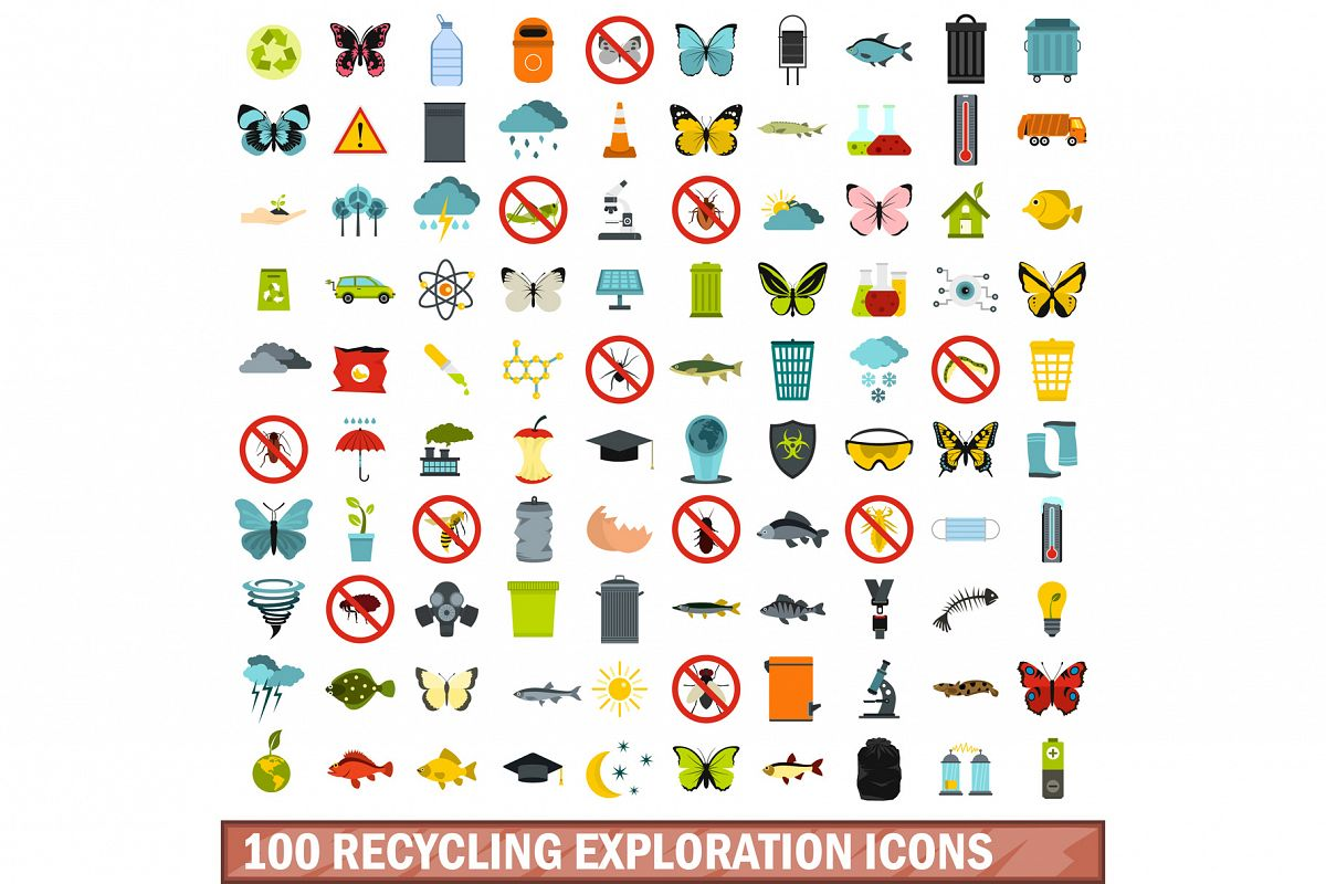 100 recycling exploration icons set, flat style example image 1