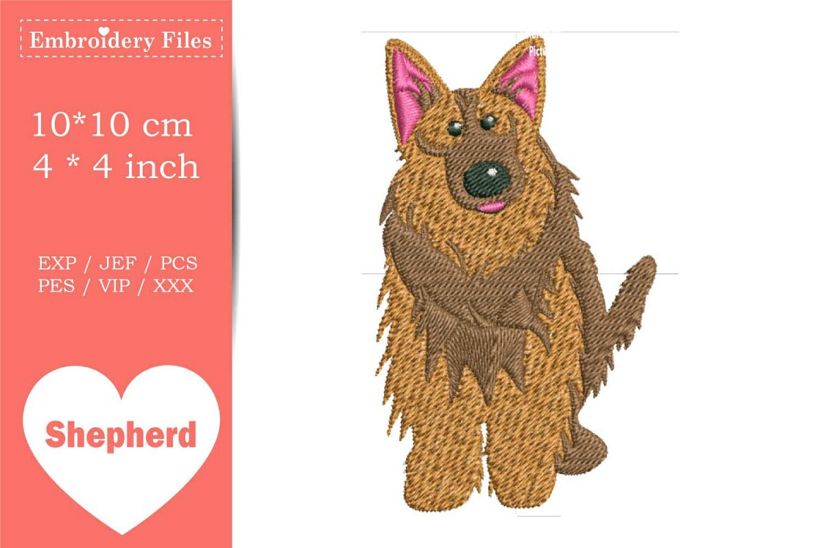 Cute Shepherd Dog - Embroidery File example image 1