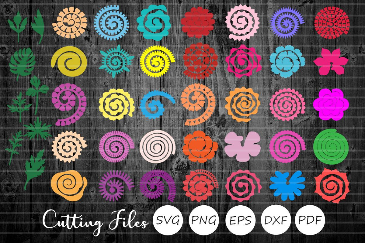 43 Rolled Paper Flowers & Stems Bundle| Svg Cut Files | example image 1