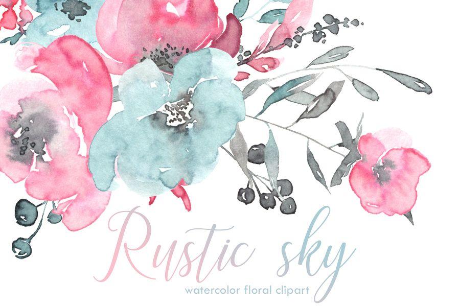 Rustic Pink Blue Watercolor Flowers