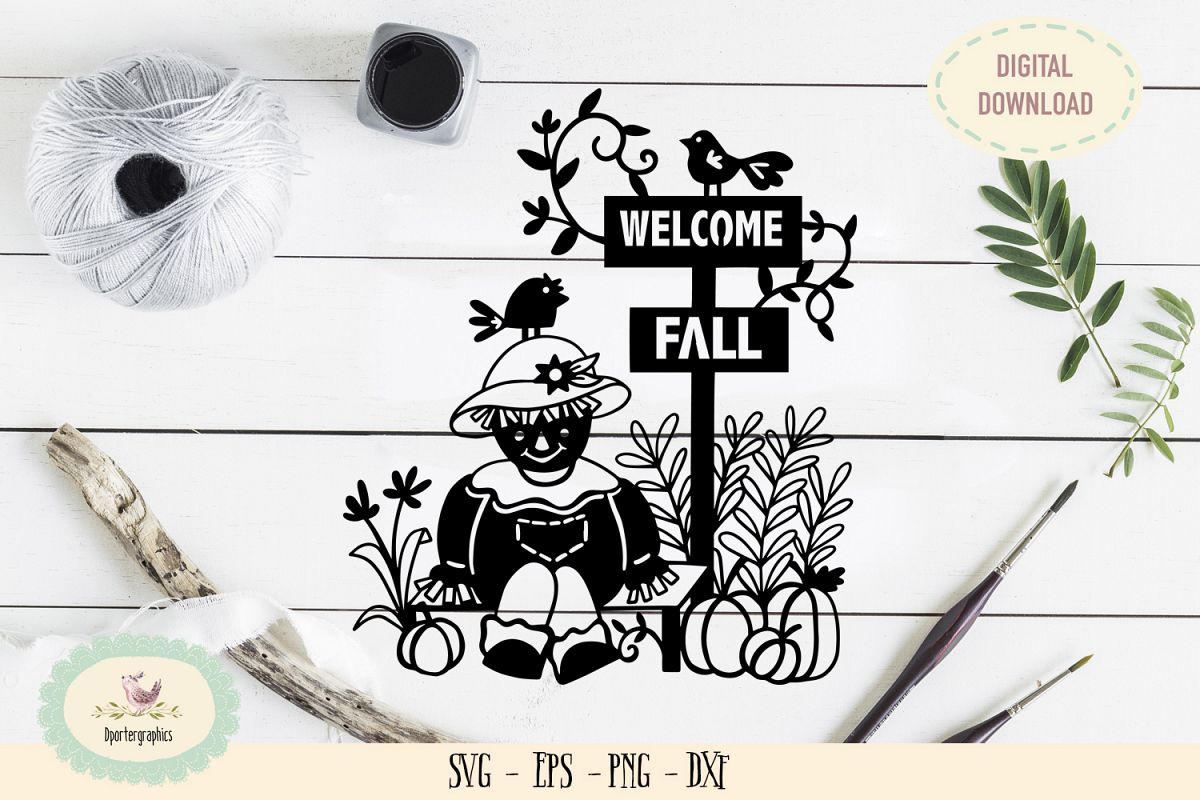 Welcome fall sign paper cut SVG PNG example image 1