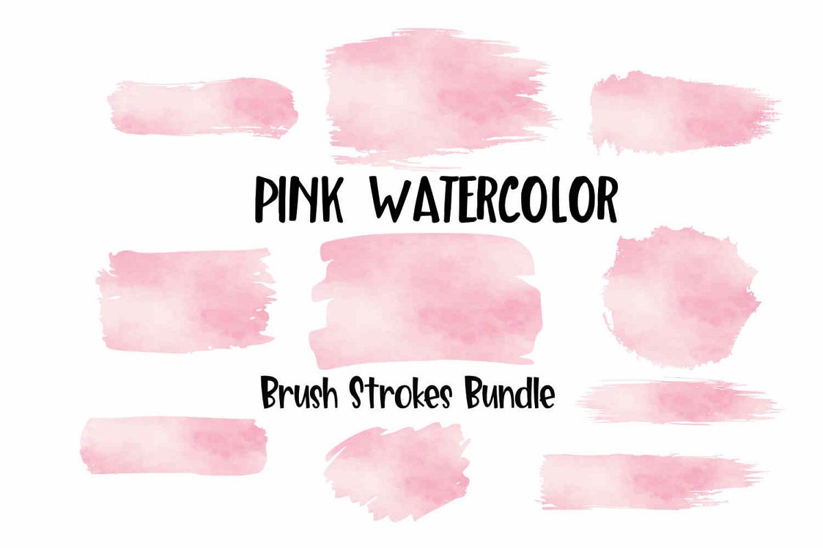 Pink Watercolor Brush Strokes Background Bundle PNG example image 1