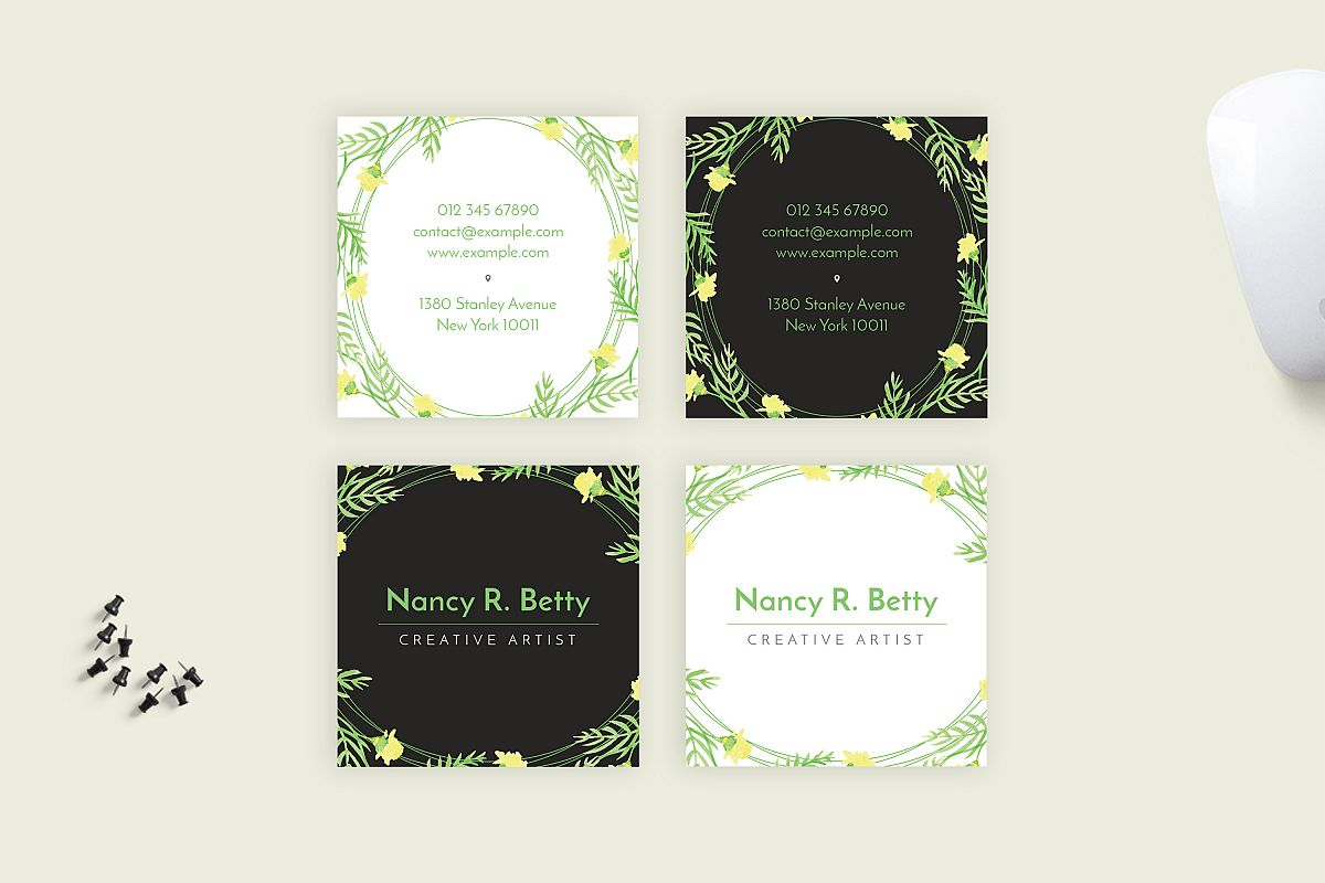 Floral Square Business Card example image 1