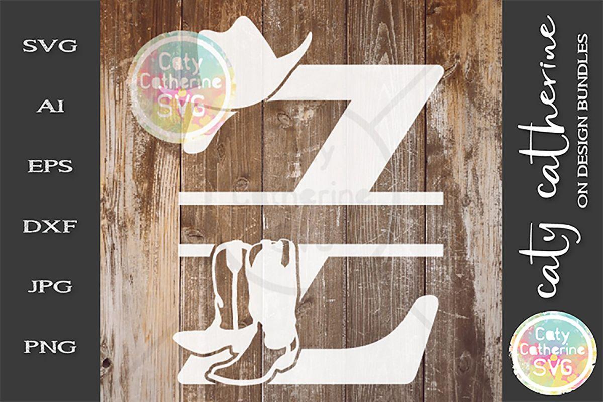 Letter Z Cowboy Monogram SVG Includes Cowboy Boots example image 1