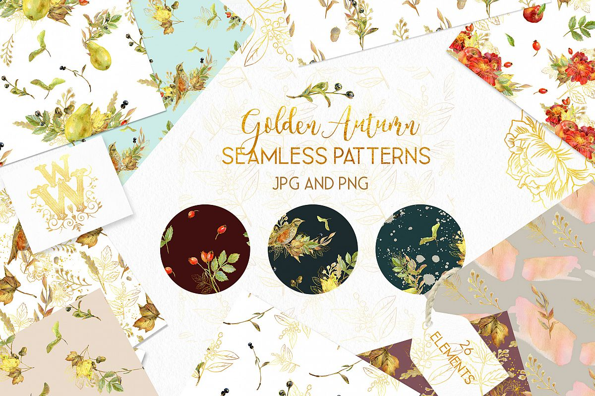 Autumn seamless pattern pack, golden fall digital paper example image 1