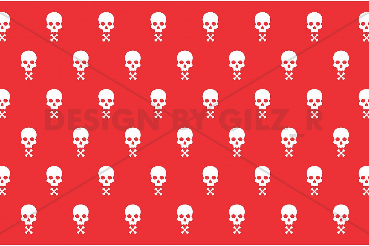 Seamless Simple Skull Pattern Background for Wallpaper, Bed Cover, Pillow Case, T-Shirt, Bag Design example image 1