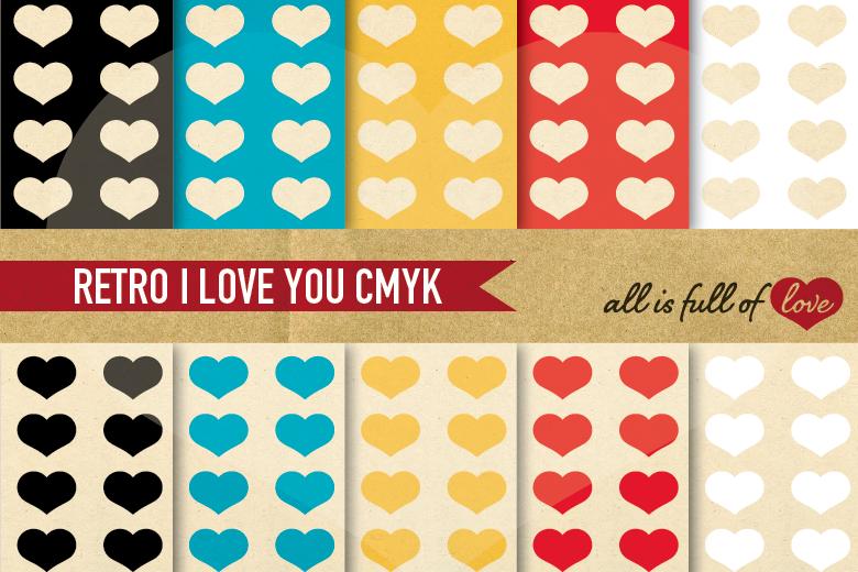 Valentines Digital Paper Vintage Hearts Background example image 1