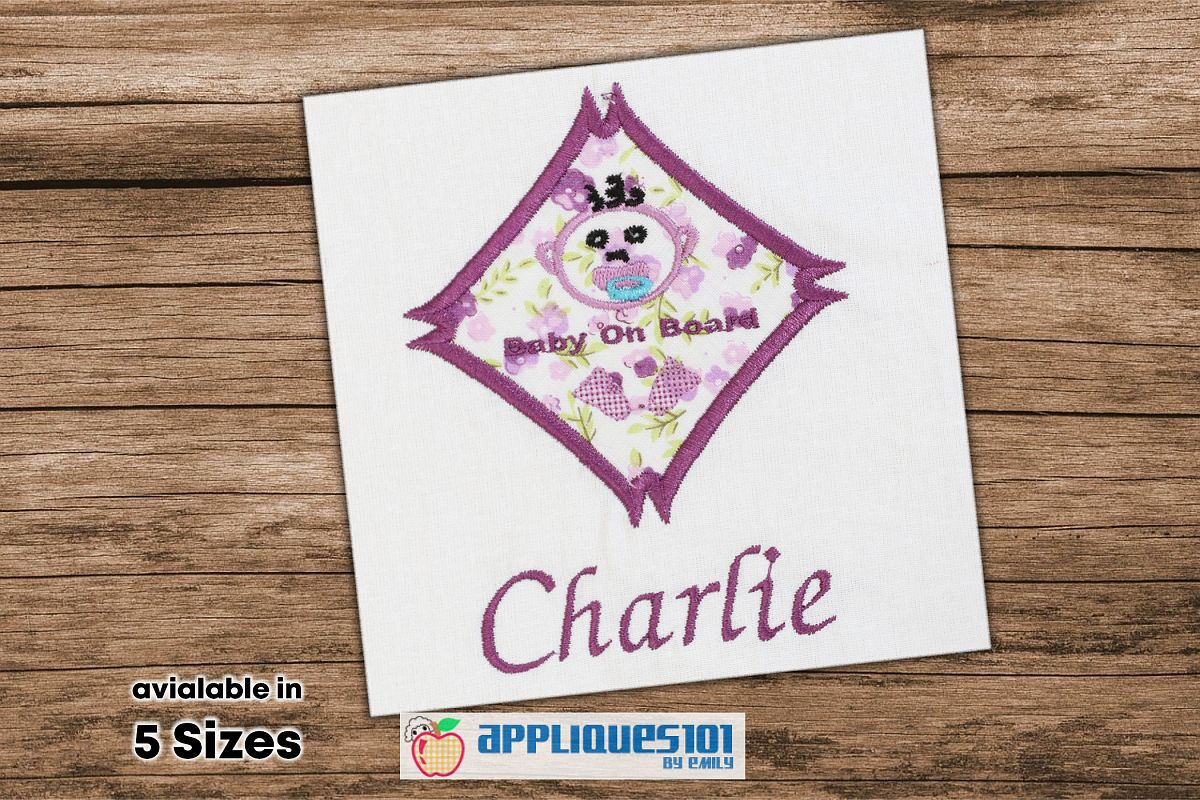 Baby on Board Machine Embroidery Applique Design - Baby example image 1